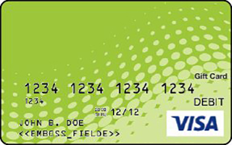 Visa gift card with green dot swoop design
