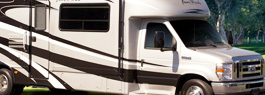 Photo of a white and black Recreational Vehicle