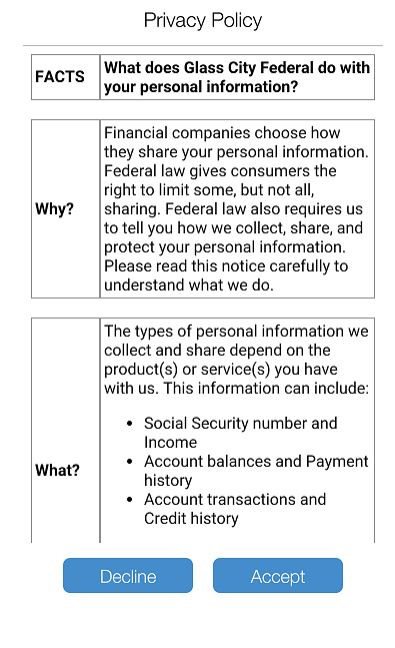 SecurLOCK Equip App Screenshot of Step 6, where you must review the privacy policy