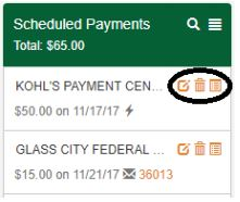 Screenshot of Glass City's Online Bill Pay System showing how to edit/cancel a payment